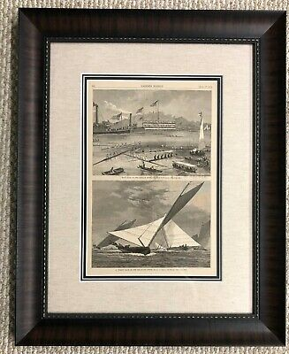 Boat Racing on Harlem River Original Harper's Weekly Circa 1875 Custom Framed