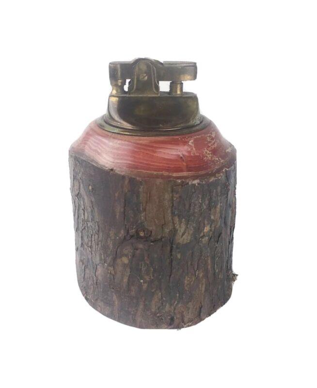 California Redwood Brass Table Lighter Real Wood Vintage Souvenir