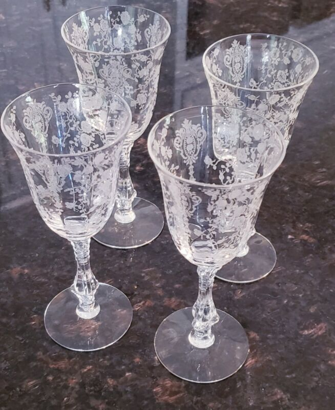 RARE Set of 4 Cambridge Rose Point Claret Crystal Wine Glasses Etched  6 1/4""