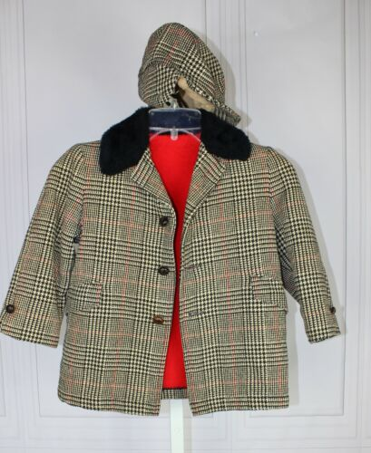 Toddler Boys Vintage 1950s-1960s Wool Overcoat coat with matching Cap Size 3-4