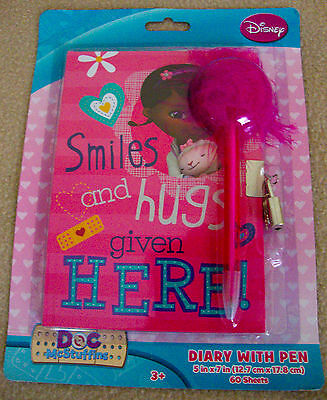 DISNEY JUNIOR- DOC MCSTUFFINS 60-SHEET DIARY w/ Lock & Key & FEATHER PEN -NEW