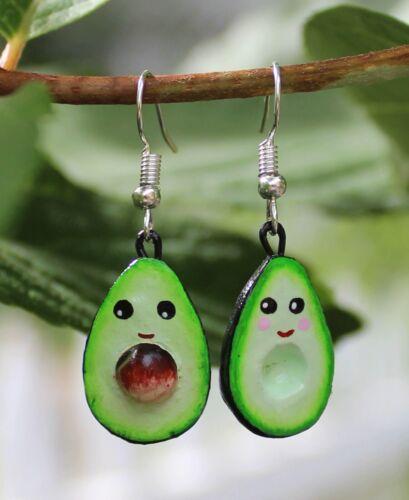 Happy Avocado Face Earrings Handmade Izúcar de Matamoros Puebla Mexican Folk Art
