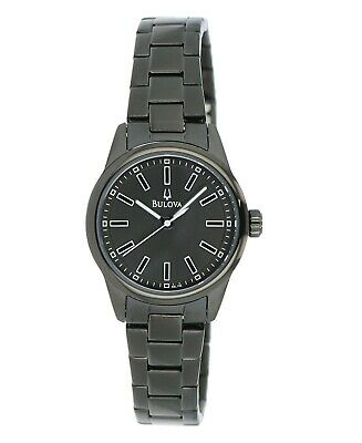 Bulova Women's Quartz Gunmetal Black Bracelet Black Dial  28mm Watch 98L192