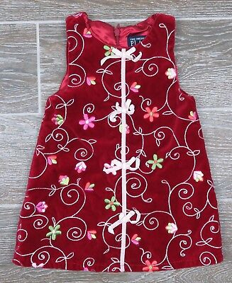 The Childrens Place Baby Toddler Girl Red Dress Christmas Holiday Lined Sz 12 mo