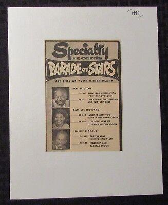 "1949 PARADE OF STARS Milton Howard Liggins 4.5x6.5"" Print Ad FN 6.0"
