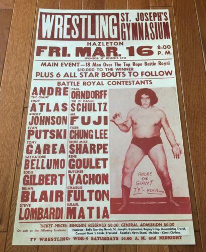 1984 ANDRE THE GIANT Ivan Putski Mr. Fuji Hazleton Pa. Wrestling Poster !!