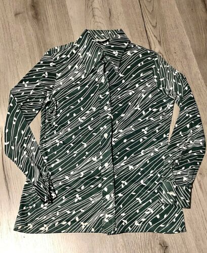 Vintage Alfred Dunner 1970s Polyester Point Collar Shirt Womens 12 Small Green