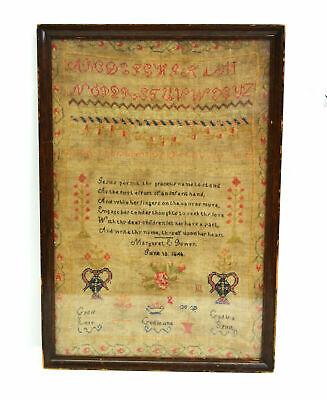 Antique HAND Embroidered Primer Sampler 1846 Homespun Americana Scripture