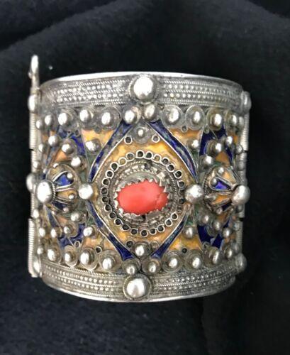 (B) Antique Kabyle Berber Coral Enamel Silver Bracelet Morocco Algeria