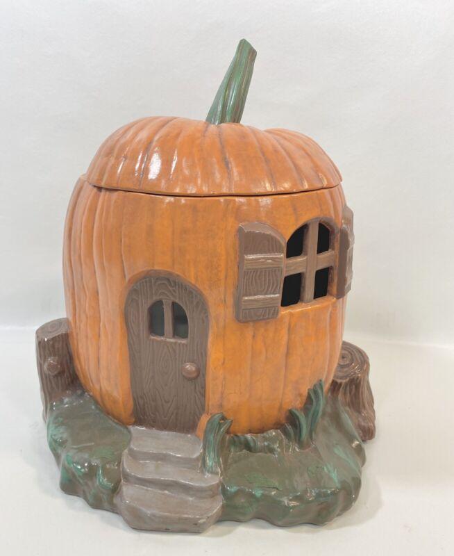 Vintage Ceramic Pumpkin JackOLantern Hobbit Hole Halloween Fall Autumn