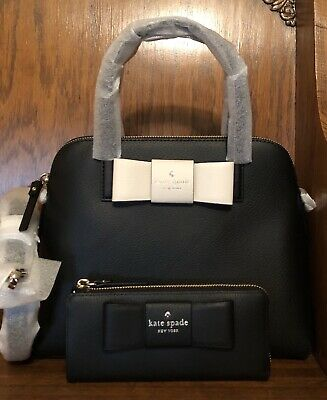 NWT-Kate Spade-SET-Robinson Street-Maise Bag & Nisha Wallet-Black-Bow-$496
