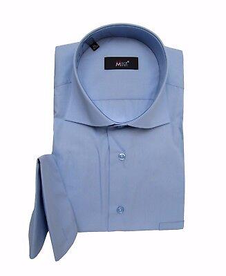 Hemd mit Einstecktuch Haifisch Kragen Gr.XL Blau