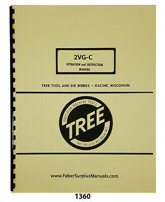 Tree Model 2vg-c Milling Machine Operation Instruction Parts Manual 1360