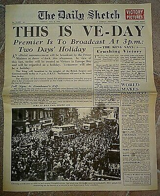 1945 Newspaper VE DAY Daily Sketch Old Antique Victory Winston Churchill WW2 War