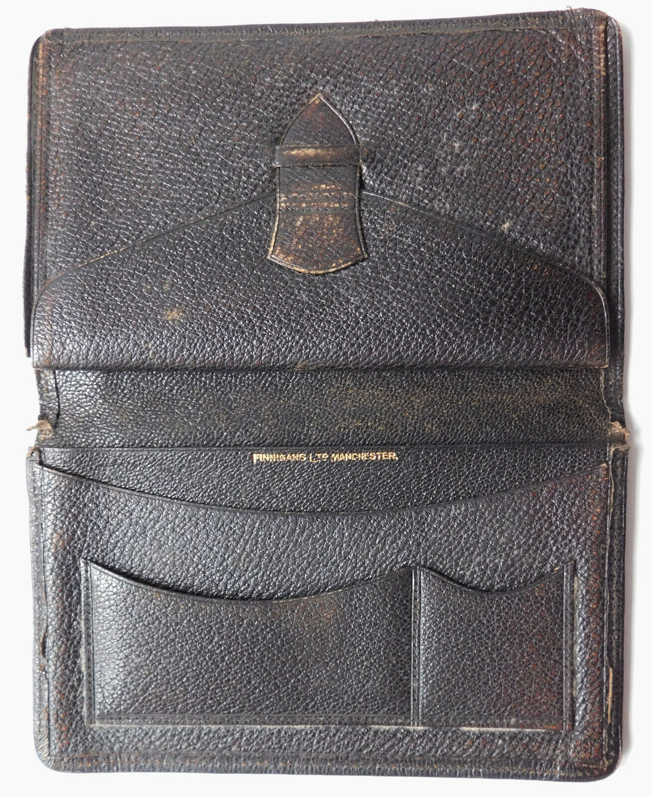 Vintage morocco leather wallet Finnigans Manchester dark brown NEEDS REPAIR