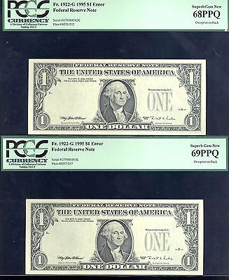 Click now to see the BUY IT NOW Price! 1995E $1 FRN 2 CON OVERPRINT ON BACK PCGS  68 69 ONLY KNOWN