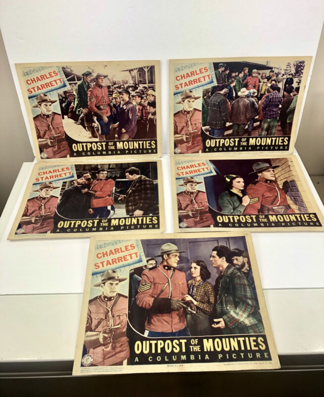 """Charles Starrett 1939 Outpost Of The Mounties Antique Lobby Card Poster 11x14"""""""