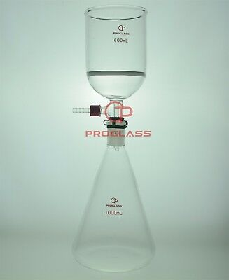Proglass Filtering Buchner Set 1000ml Erlenmeyer Flask Plus The 600ml Funnel