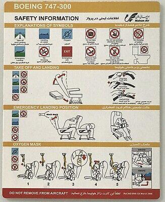 Safety Card* Mahan Air- Boeing -