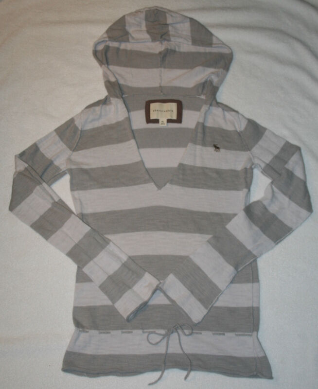 Abercrombie Gray & White Stripe V Neck Hoodie Sweater Tie Waist Girl
