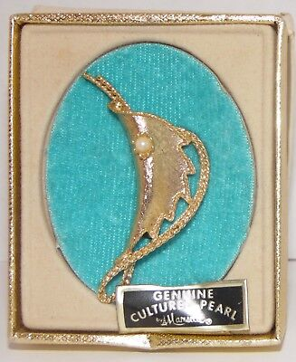 (Mamselle Gold Tone Pin Brooch with Genuine Cultured Pearl in Orig Box VTG)