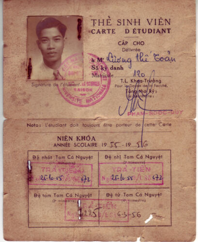 Indochine Saigon The Sinh Vien Carte D Etudent 1956 Extremely Rare