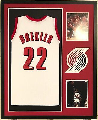 44393e172 Clyde Drexler Autographed Custom Framed Portland Trail Blazers Jersey 1 JSA  COA