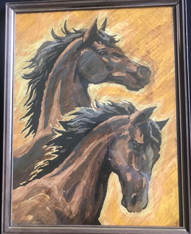 "Vintage Paint By Number Horses 11"" X 14"" With Original Frame And Glass"