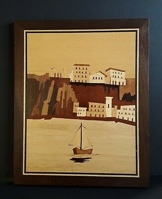 VINTAGE ATTARDI HAND MADE INLAID WOOD WORKS SORRENTO ITALY WALL PLAQUE
