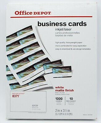 Office Depot Business Cards Paper 1000 Cards White Matte Finish Avery 8371