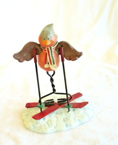 Russ Berrie MERRILY WE TWEET ALONG 13256 Bird Bad Skier Figurine
