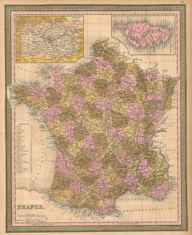1849 Mitchell Map of France
