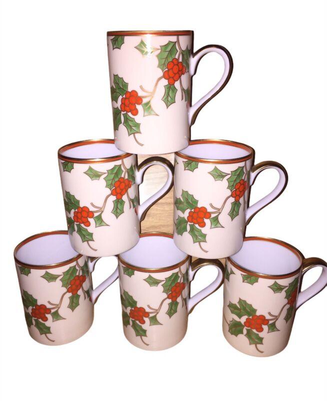 Fitz & Floyd Christmas Holly Mugs Lot Of 6