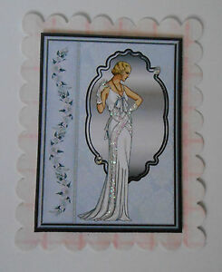 PK 2 BEAUTIFUL WHITE ART DECO LADY TOPPER  FOR CARDS OR CRAFTS ***