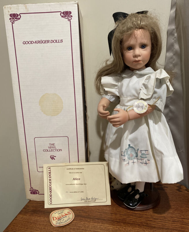"""Julie Good Kruger 22"""" Alice in Wonderland Vinyl Doll COA Box"""