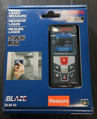 Nib Bosch Glm 42 Blaze 135 Laser Measure Full Color Display 116 Accuracy