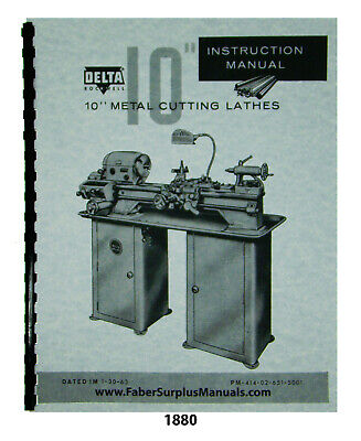 Delta Rockwell 10 Metal Lathe Early Model Instruction Parts List Manual 1880