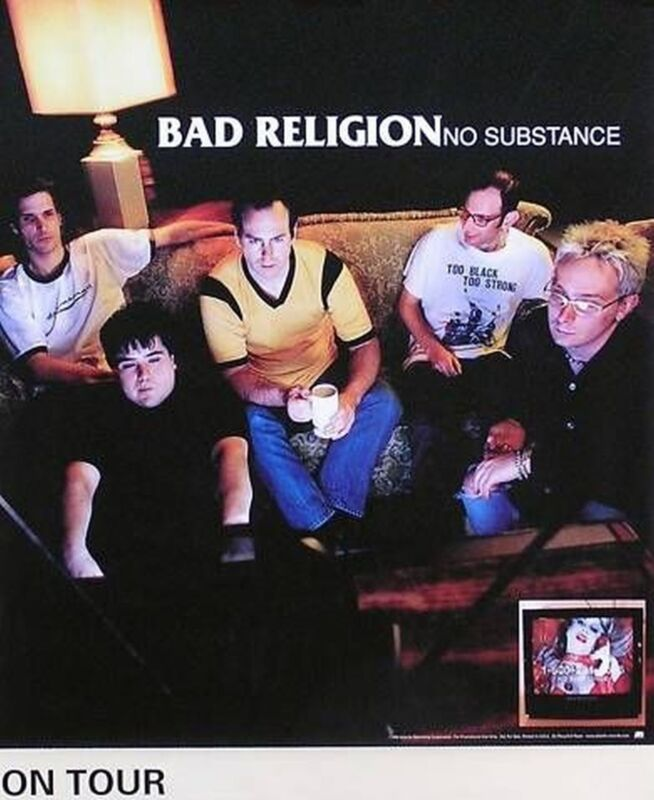 MUSIC POSTER~Bad Religion No Substance 1998 Tour US Promo Atlantic Records USA~