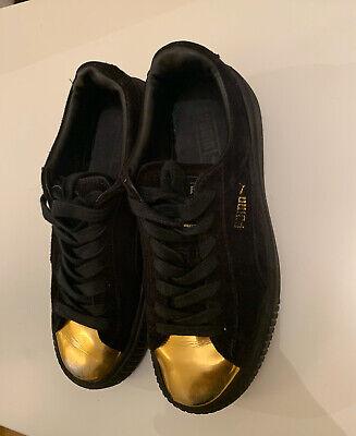 Ladies Black puma Gold Toe Suede Platform Trainers Size 6