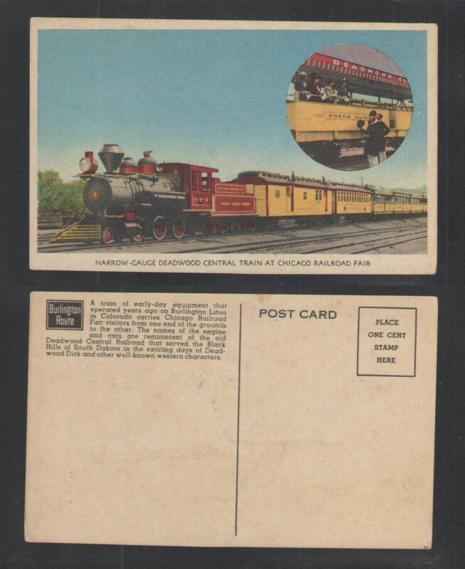 1940s NARROW-GAUGE DEADWOOD CENTRAL TRAIN AT CHICAGO RAILROAD FAIR POSTCARD