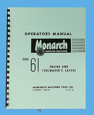 Monarch Series 61 Lathe Operator Manual Engine Toolmaker 95
