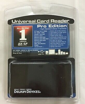 Delkin All-In-One Pro Universal Card Reader SDXC / SDHC / UDMA  31MB High Speed Delkin Sd Pro Card