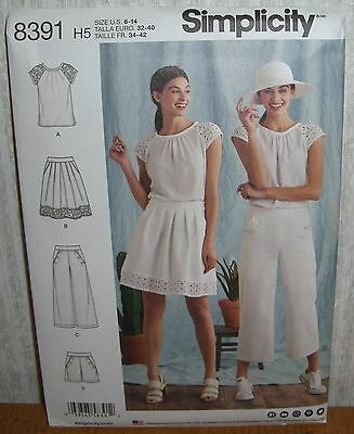 Womens/Misses Top Skirt Pants Shorts Sewing Pattern/Simplicity 8391/SZ 6-14/UCN
