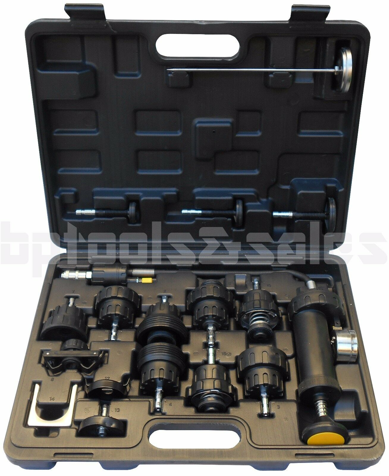 Engine Coolant Cooling System Pressure Testing Tester Radiator Cap Tool Kit Set