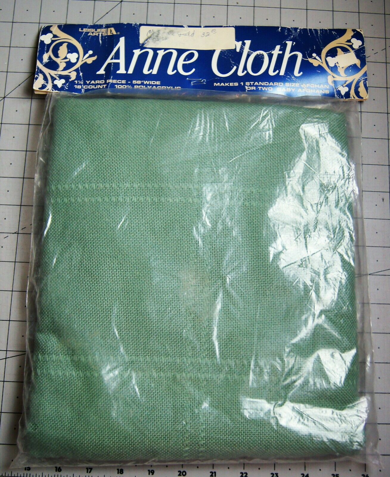 Leisure Arts Anne Cloth Green Afghan 18 Count For Cross Stitch 45 X 58 NIP - $19.00