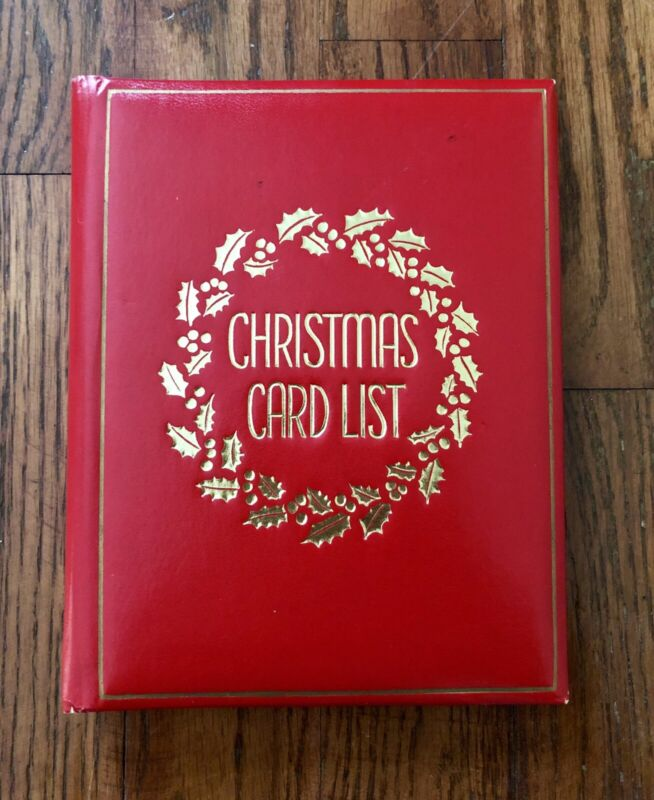 Mid-Century Modern Red Christmas Card List Book,Springfield Co,Unique,Vintage