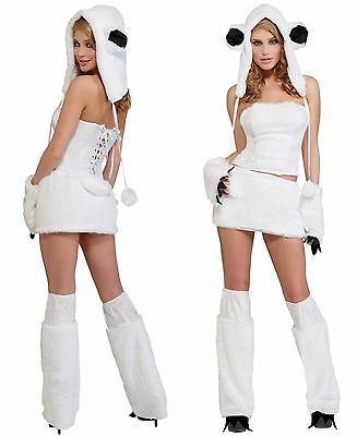 Polar Bear Halloween Costumes (SEXY FURRY POLAR BEAR HALLOWEEN COSTUME WOMEN'S SIZE M/L 8 -)