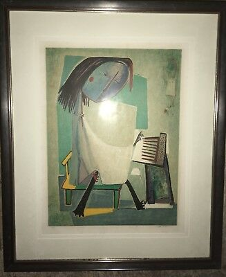 ANGEL BOTELLO Authentic Color Linocut Sing Hand titled