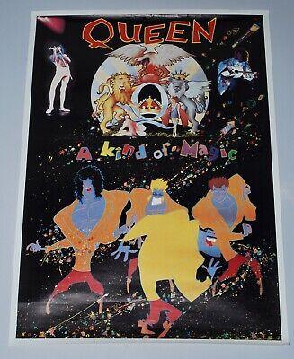 VERY RARE ORIGINAL 1986 QUEEN UK 'A KIND OF MAGIC' PROMO SHOP POSTER