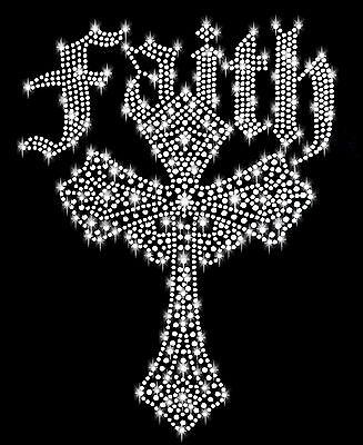 Glauben Steine (XXL STRASSSTEINE KREUZ BÜGELBILD HOTFIX APPLIKATION RELIGION CROSS GLAUBEN faith)